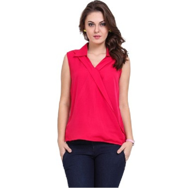 DeDes Casual Sleeveless Solid Womens Pink Top