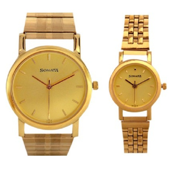 Sonata dg85 Gold Plated Analog Watch For Couple