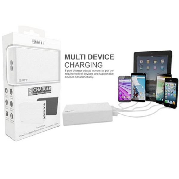 MTT 5 Port Smart IC Charger For Smartphone Tablets USB Hub
