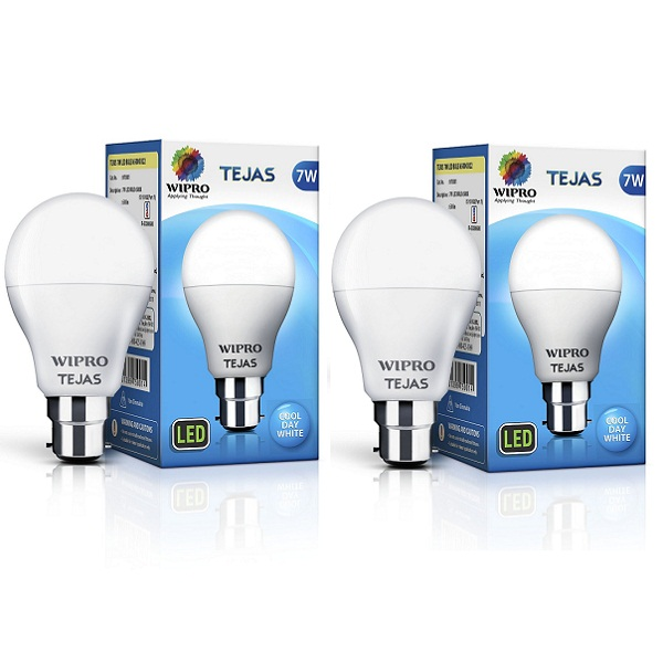 Wipro 7W LED Bulb Cool Day Light Pack of Two