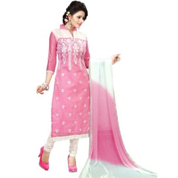 Fashion Ritmo Chanderi Cotton Self Design Semi stitched Salwar Suit Dupatta Material