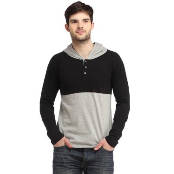 Bigidea Solid Mens Hooded Black Grey TShirt