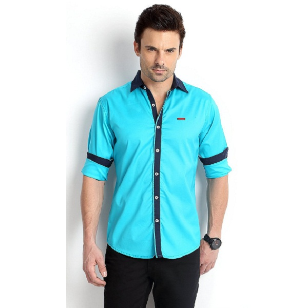 RODID Attractive Look Mens Cotton Solid Casual Shirt