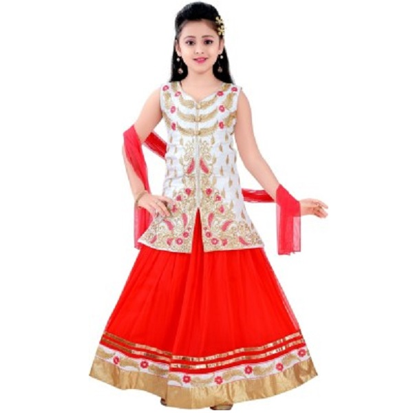Saarah Self Design Girls Lehenga Choli