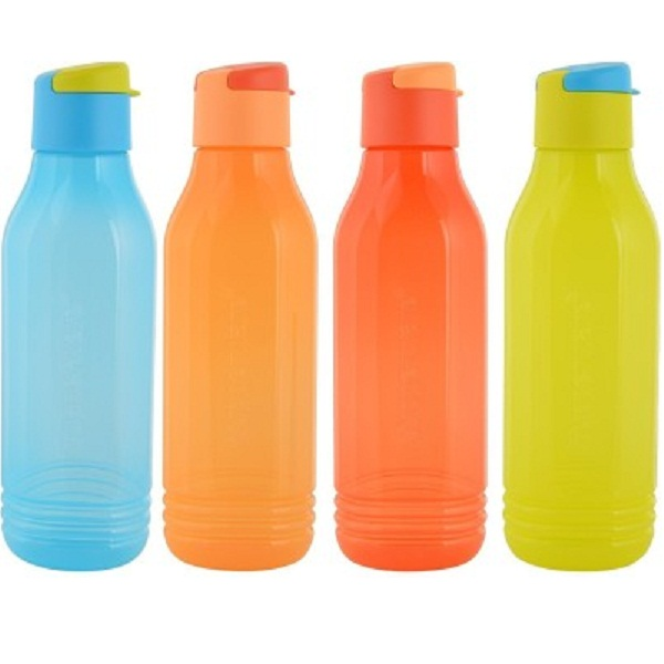 Tupperware Aquasafe Fliptop Triangular Groovy 750 ml Bottle Pack of 4