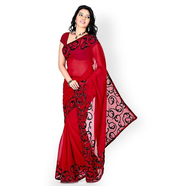 DivyaEmporio Womens Black and Red Faux Georgette Saree