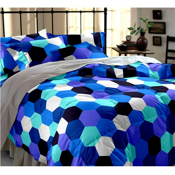 Dreamscape Cotton 144TC Blue Geometric Double Bedsheet with two Pillow Covers