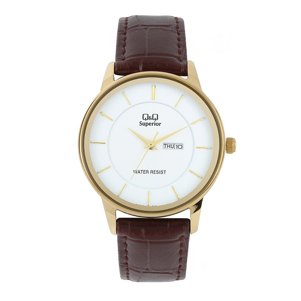 Q And Q Day and Date Analog Gold Dial Mens Watch