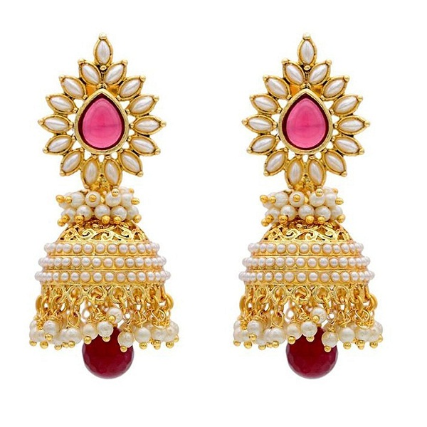 YouBella Stylish and Trendy Gold Plated Pearl Jhumki