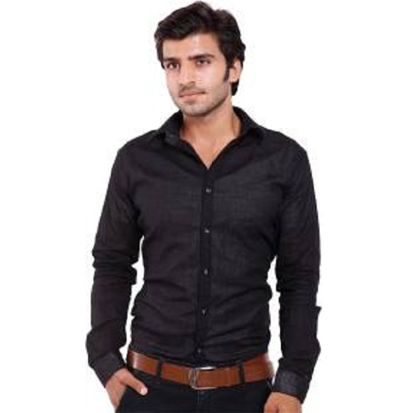 Deeksha Mens Solid Casual Black Shirt