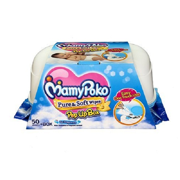 Mamy Poko Pure and Soft Fragrance Wipes Box Dark Blue 50 sheets