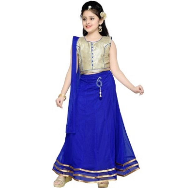 Aarika Self Design Girls Lehenga Choli and Dupatta Set