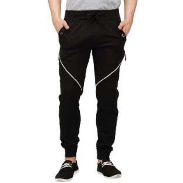 Campus Sutra Solid Mens Black Track Pants