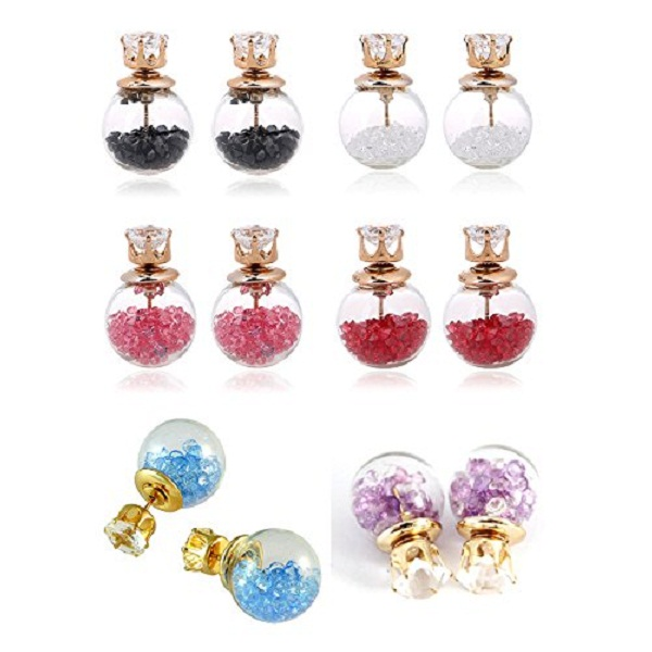 Youbella Crystal Multi Colour Stud Earrings For Women Combo Of 6