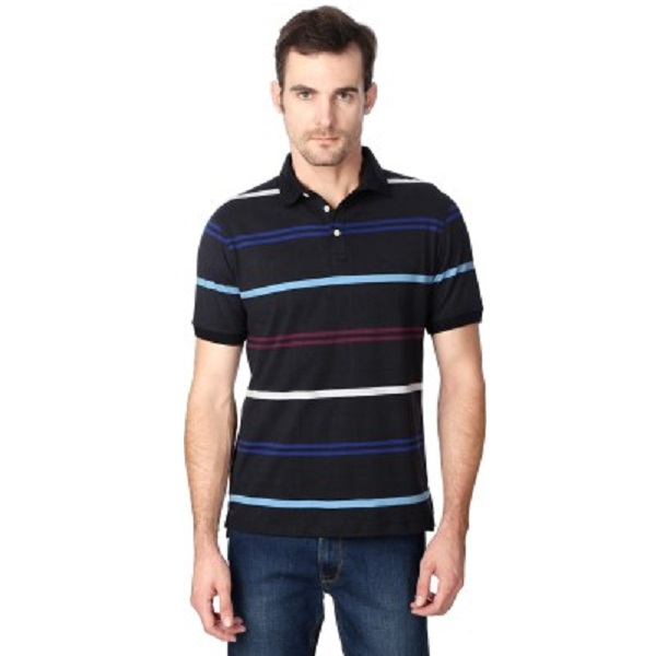 Peter England Striped Mens Polo Neck Black TShirt