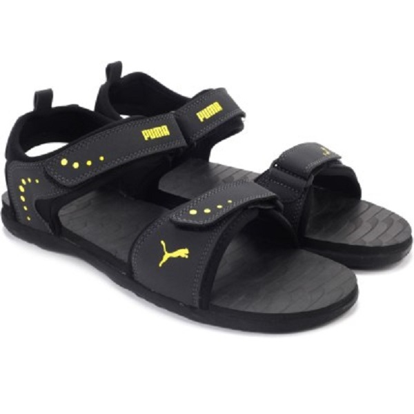 Puma Men Black Grey Yellow Sports Sandals