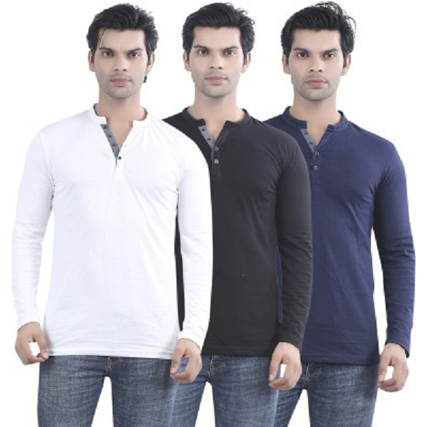 Maniac Solid Mens T Shirt Pack of 3