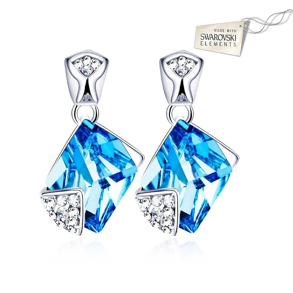 Swarovski Elements Icy Cube Sparling Crystal Designer Studs Earrings