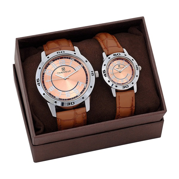 H Timewear Analog Brown Dial Couple Watch