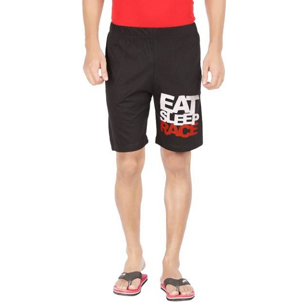 Hotfits Printed Mens Black Basic Shorts
