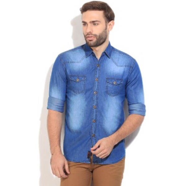 High Star Mens Solid Casual Blue Shirt
