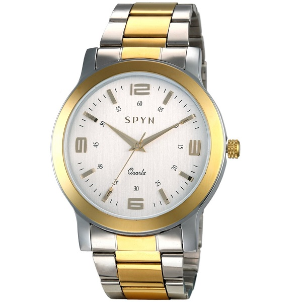 Spyn Exclusive Glow Series golden casual wrist watch for Men
