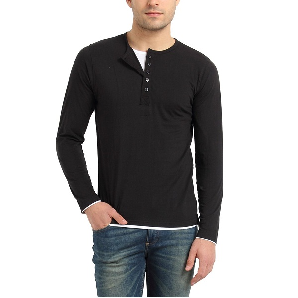 Zsolt Full sleeve Henley double layer style Mens cotton T shirt
