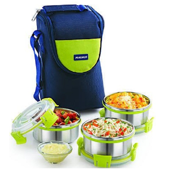 Magnus Fresh Meal Aura 3 Stainless Steel Containers Lunch Box With Clip Lock And Bag
