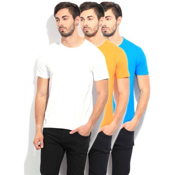 Fila Pack of 3 Solid Mens Round Neck T Shirt