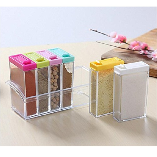 House of quirk Crystal Seasoning Box Pepper Salt Spice Rack Plastic 6 Box Kitchen See Through Storage Containers