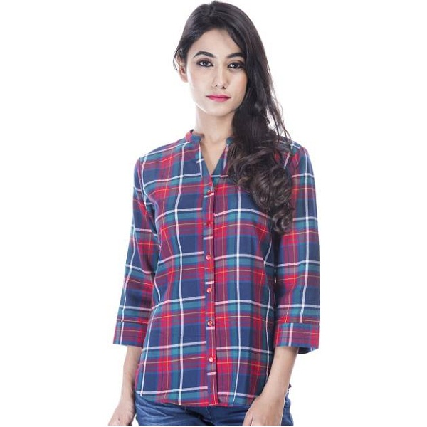 Amadore Womens Checkered Casual Multicolor Shirt