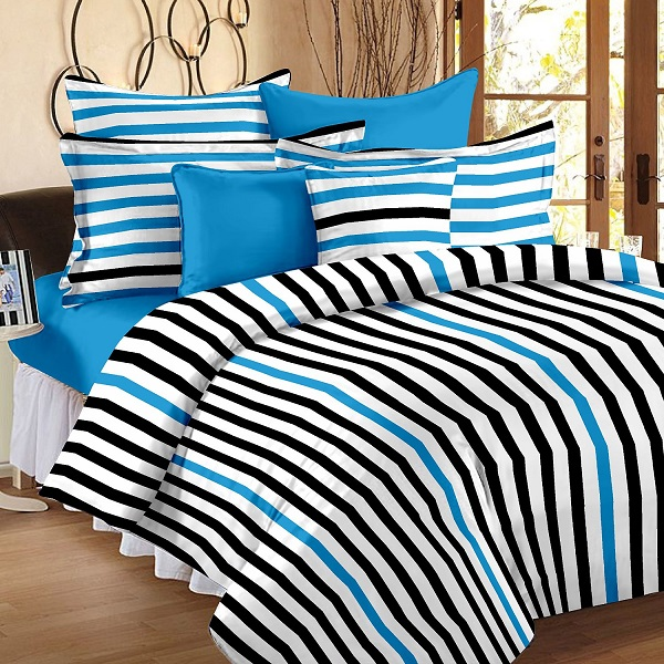 Story Home White 186 TC Cotton 1 Double Bedsheet With 2 Pillow Cover White Blue