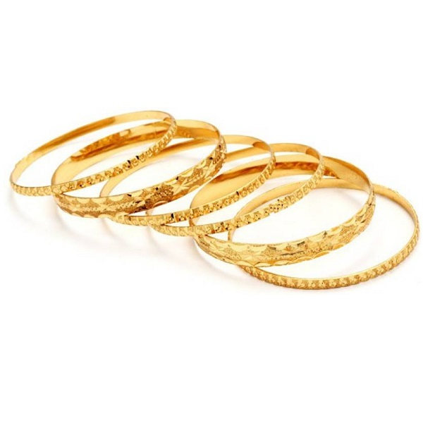 Ethnic Jewels Brass Yellow Gold Bangle Set Pack of 6