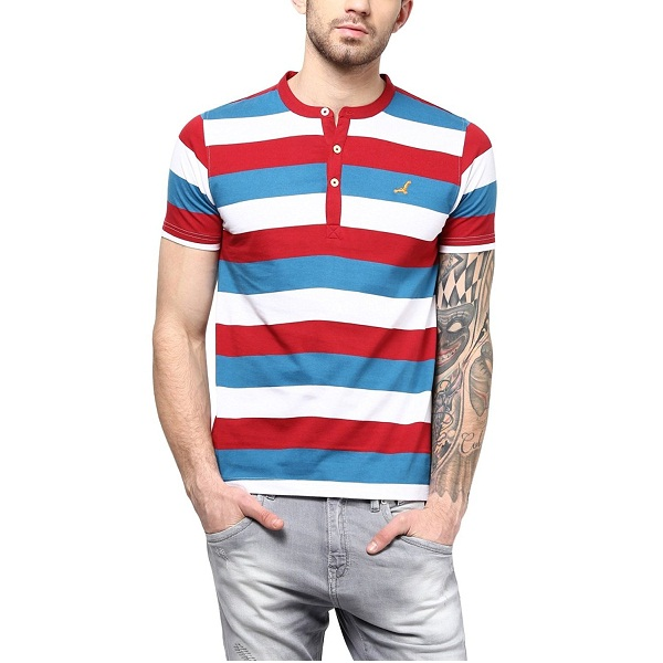 American Crew Mens Striped Henley Half Sleeves T Shirt