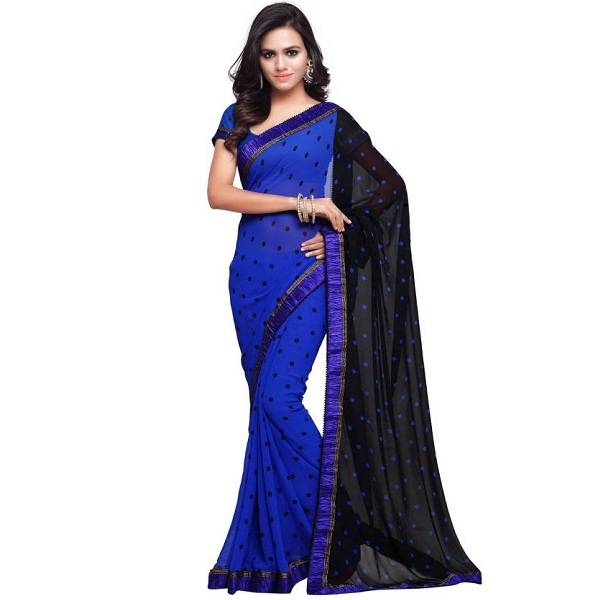Sourbh Sarees Polka Print Fashion Georgette Sari