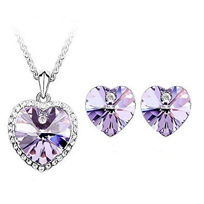 Shining Diva Silver Plated Purple Crystal Necklace Set for Women