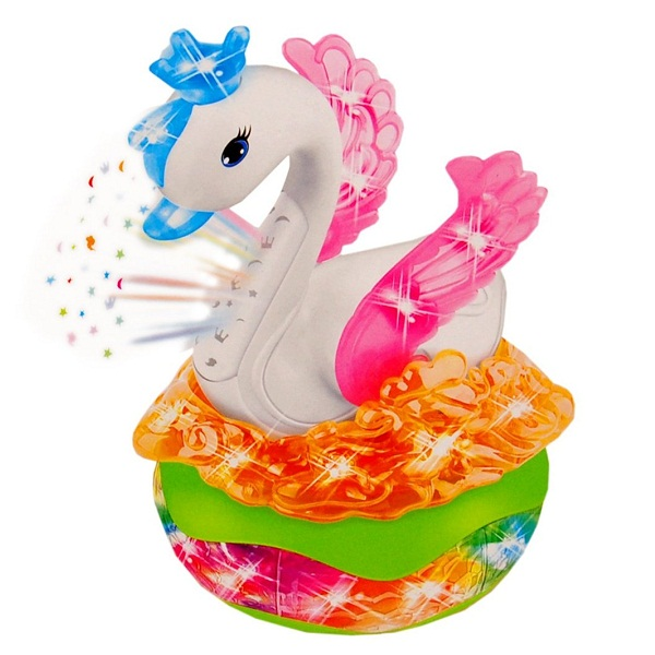 Sunshine Moving Swan Toy with Music and 3D Projection Lights