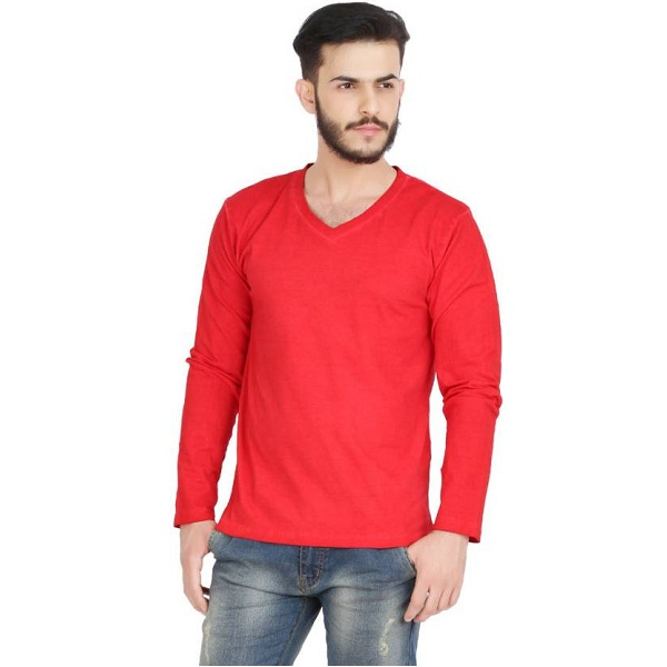 GOFLAUNT Solid Mens V neck Red T Shirt