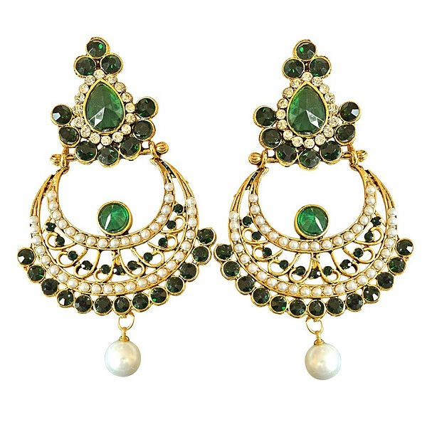 Surat Diamonds Gold Plated Hanging Earrings for Women