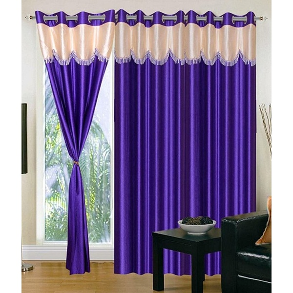 Super India Polyster 3 pcs plain frills curtains