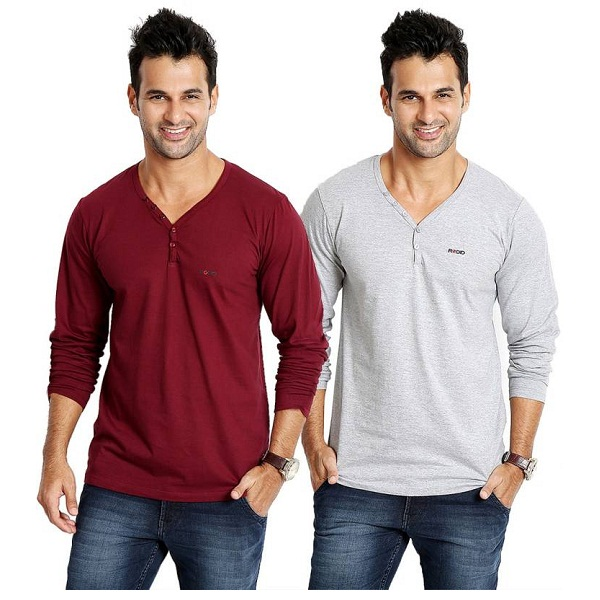 Rodid Solid Mens V neck Maroon Grey T Shirt