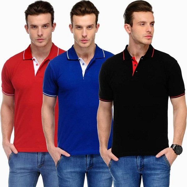 Scott International Pack of 3 Solid Mens Polo T Shirts