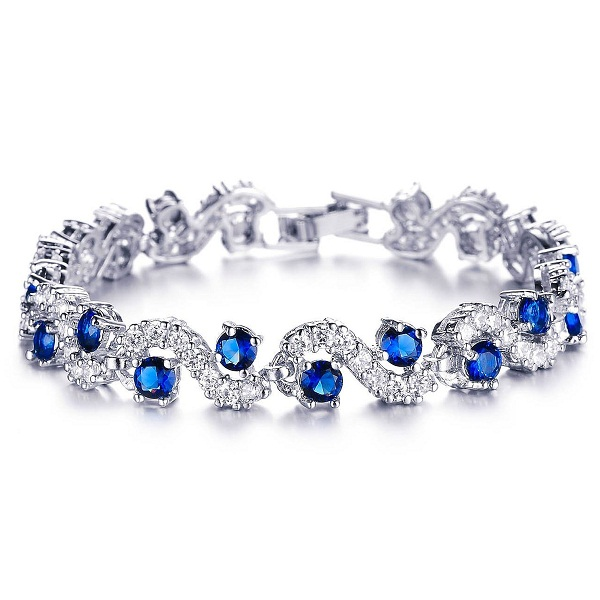Yellow Chimes Rich Royal Blue Crystal High Grade Cz Chain Bracelet