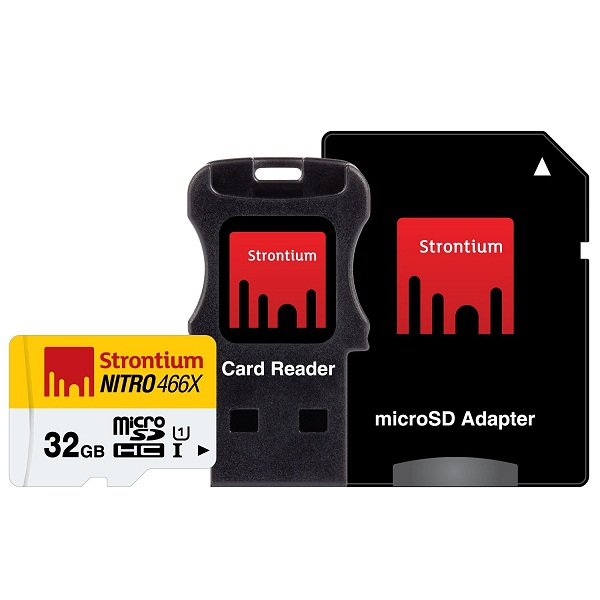 Strontium NITRO 466X 32GB Memory Card with Adapter and Card Reader