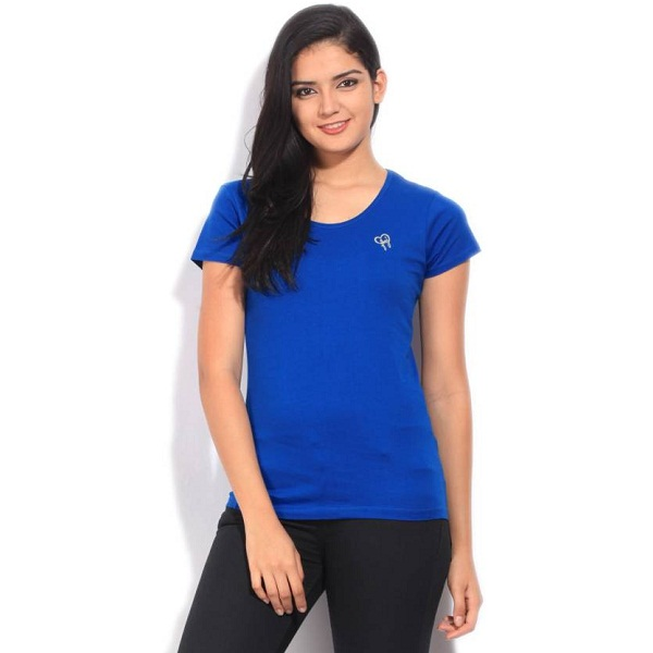 Flying Machine Solid Womens Round Neck Blue T Shirt