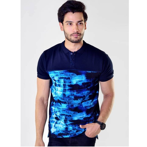 Avoir Envie Printed Mens Polo Blue T Shirt