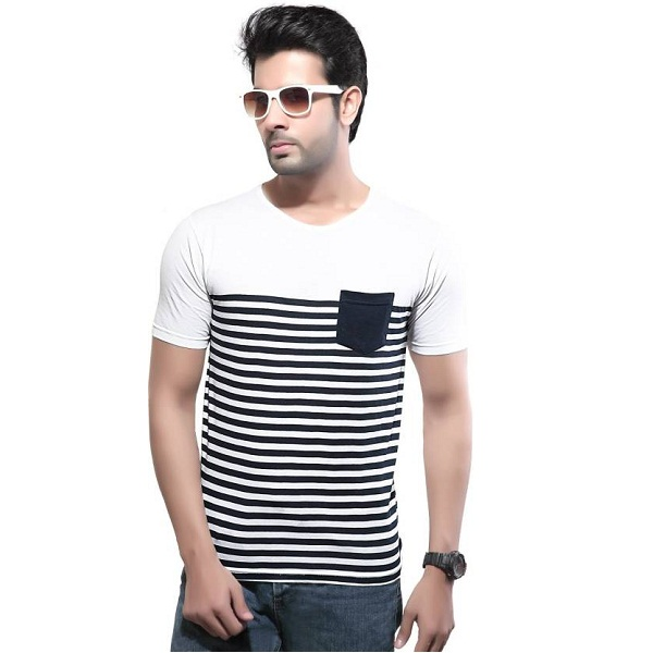 D O Striped Mens Round Neck White T Shirt