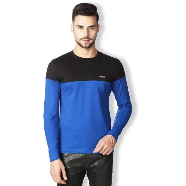 Rodid Solid Mens Round Neck Blue Black T Shirt