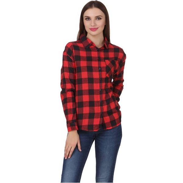 One Femme Womens Checkered Formal Red Shirt