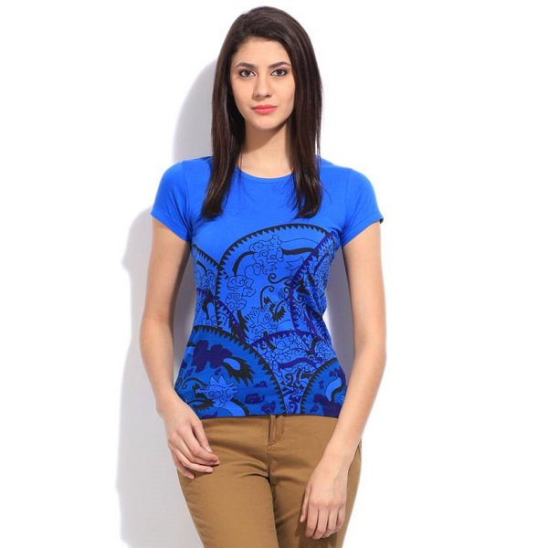 STYLE QUOTIENT BY NOI Printed Womens Round Neck Blue T Shirt